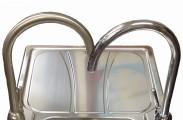 Carron Phoenix Zeta sink with Carron Phoenix Dante Kitchen Tap (brushed nickel finish on the left, chrome finish on the right