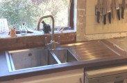 Example of a Vela Kitchen Sink with the San Marco Finley Kitchen Tap in Brushed Steel (Kitchen being renovated - unfinished in picture)