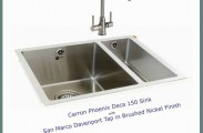 Carron Phoenix Deca 150 Sink with San Marco Davenport Tap in brushed nickel finish