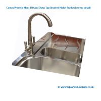Carron Phoenix Maui 150 Sink with Opus Tap in brushed nickel finish