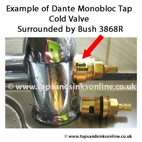 Dante Monobloc Tap Valve & Bush in situ