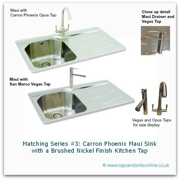 Carron Phoenix Maui Sink with Brushed Nickel Kitchen Taps