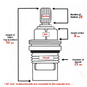 UK Kitchen Tap Valve 1427R Blueprint