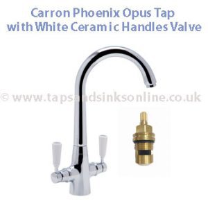 Carron Opus Tap with White Ceramic Handles Valve