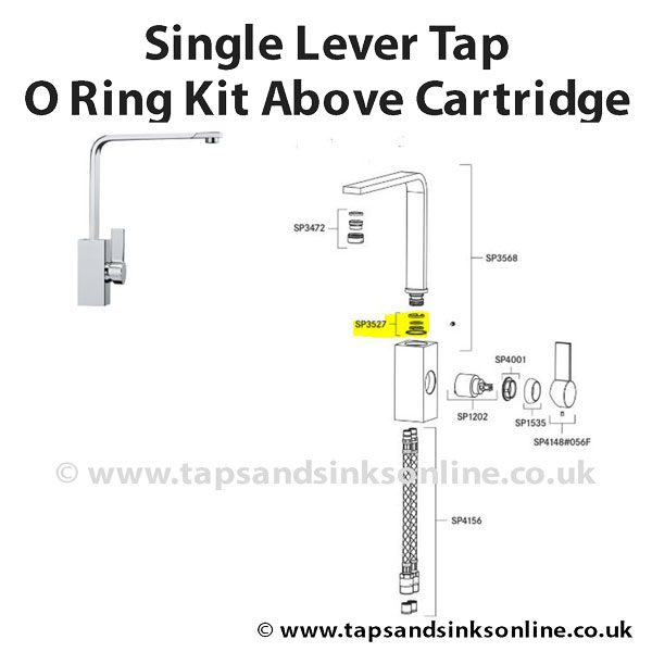 Single Lever Tap O Ring Kit Above Cartridge