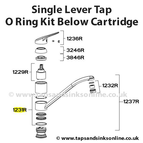 Single Lever Tap O Ring Kit Below Cartridge