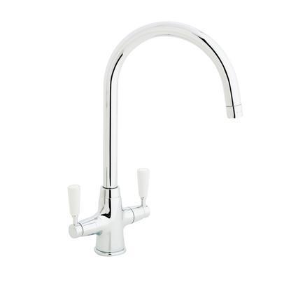 Lamona Chrome and White Victorian swan neck monobloc tap (2)