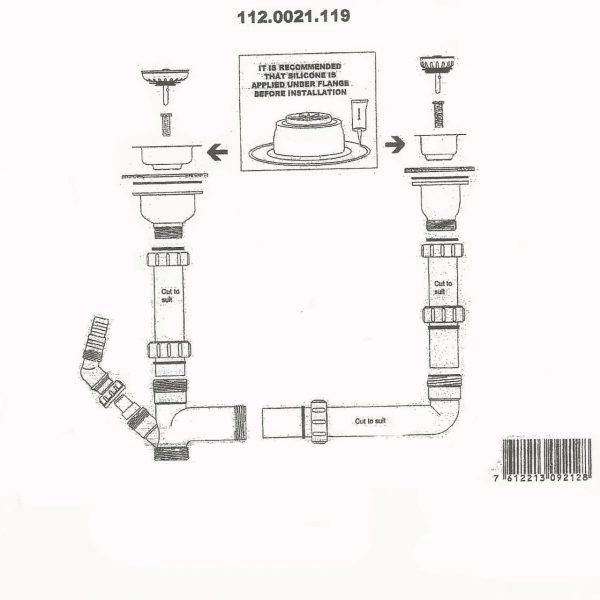 Shonelle 150 Waste Plumbing Kit 112.0021.119 blueprint