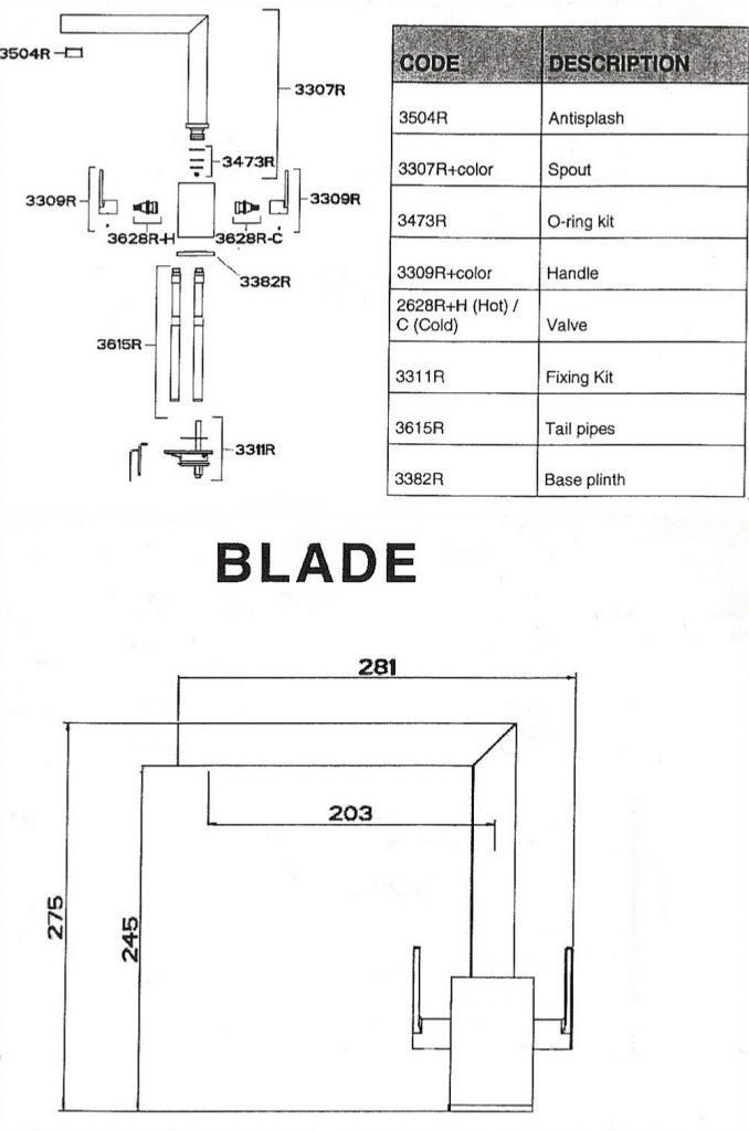 San Marco Blade Kitchen Tap Spec