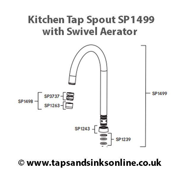 SP1499 Spout complete with Swivel Aerator