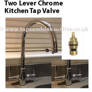 two lever chrome kitchen tap valve 1