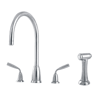 4876 Titan 3 Hole Tap with C Spout and Rinse Tap Valve
