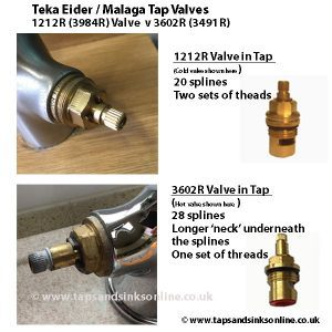 Teka Eider and Malaga Tap Valves - Valves shown in Tap