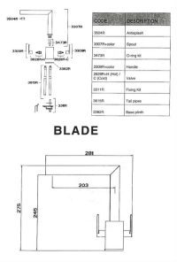 Blade Kitchen Designer Tap - Specification