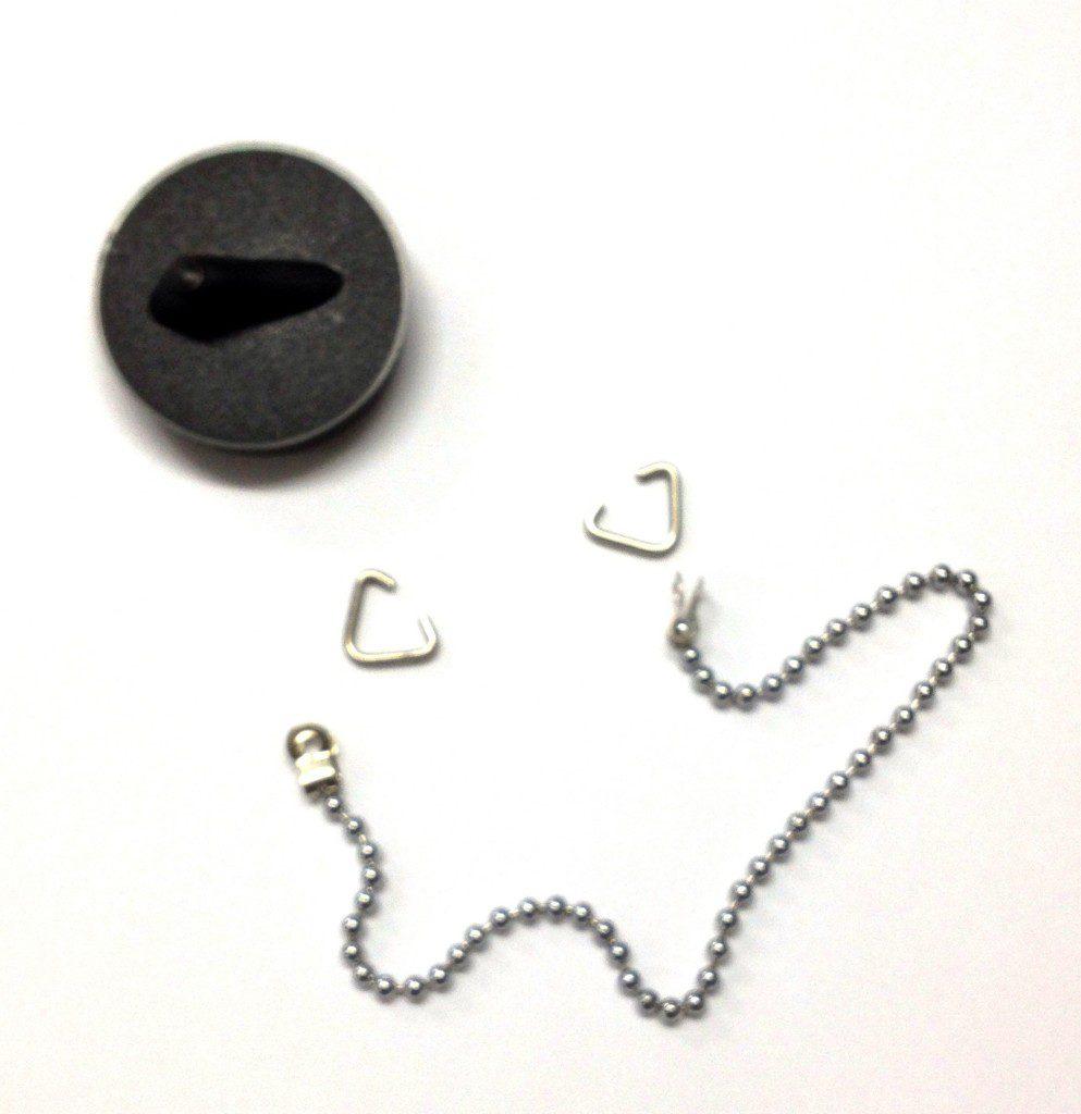 McAlpine 1.5 inch black rubber plug & chain set complete